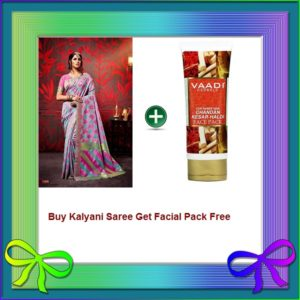 Pink Saree Get Facial Pack Free