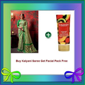Green Saree Get Facial Pack Free