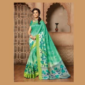 Silk Art Work Green Saree