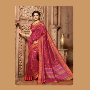 Art Work Red Saree
