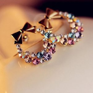 Fashion Imitation Rhinestone Bow Earrings E41 Vintage Jewelry
