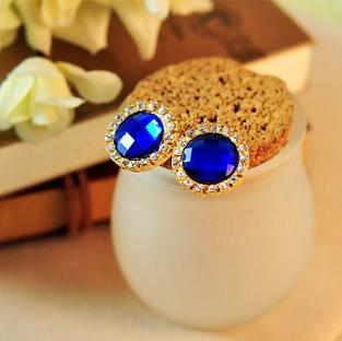 Acrylic Crystal Gem Zircon Earrings-1