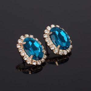 Crystal Gem Austrian Oval Shape Earrings Blue