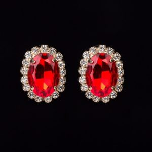 Multicolour crystal gem austrian oval shape earrings