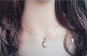 Cute Lucky Cat Opal Short Pendant Necklace Hot Sale N119-3