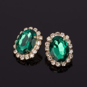 Crystal Gem Austrian Oval Shape Earrings Green