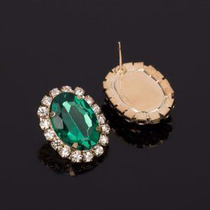 Crystal Gem Austrian Oval Shape Earrings Green-1
