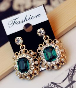 Jewelry-Charm-Fashion-Wedding-Earrings-With-Pearls-Drop-Earring-Gold-Plated-Crystal-Dangle-Earrings-Jewelry-Gift-Green